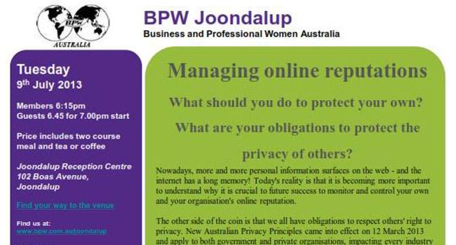 BPW Dinner Seminar in Joondalup Image