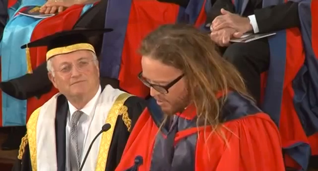 They gave him a doctorate! Image
