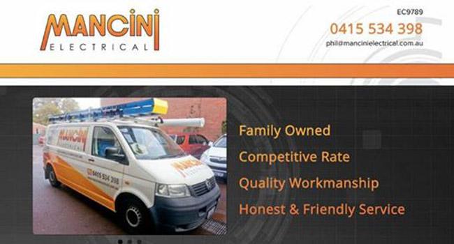 Mancini Electrical website Image