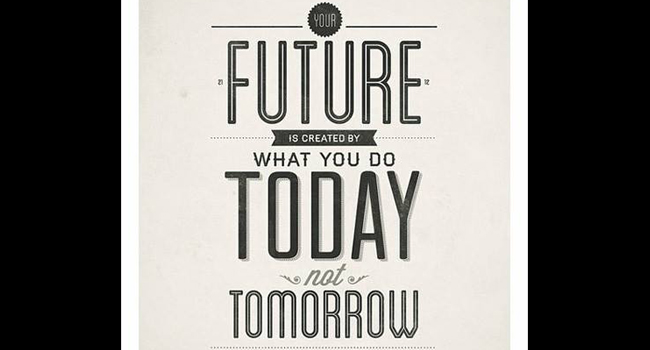 Your future is created by what you do today not tomorrow Image