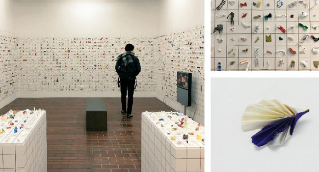 A Display of 8000 Paper Sculptures Made from Chopstick Sleeves Image